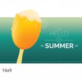 Hello summer vector creative concept background Ice cream melts