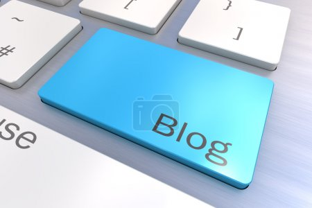 Photo for A Colourful 3d Rendered Illustration showing Blog on a Computer Keyboard - Royalty Free Image