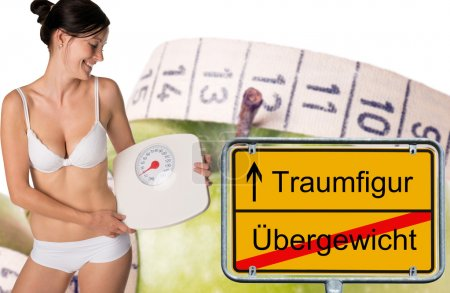 sign with the german words dream figure and overweight