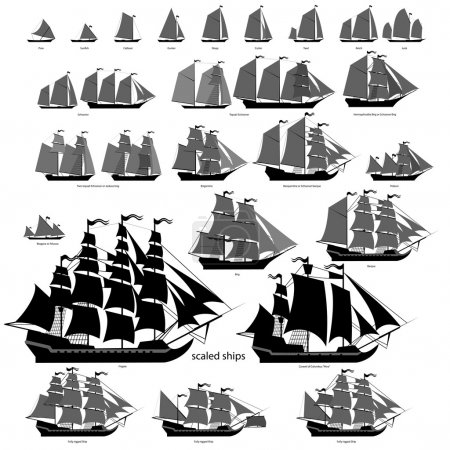 Illustration for Vector ships set with separate editable elements. ALL TYPES of sailing ships. - Royalty Free Image