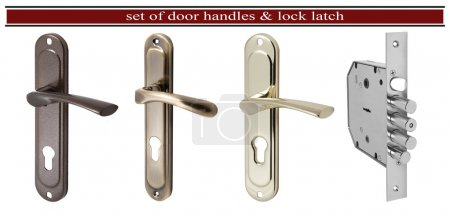 Set of door handles and door latch lock