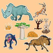 Collection Sets of African Animals and Tree including rhinoceros mandrill baboon gazelle meerkat wildebeest baobab and African trees