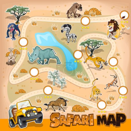 Illustration for Collection Sets Of African Safari Map. Contains Lion, Leopard, Cheetah, Zebra, Wildebeest, Rhino, Hyena And Many More. - Royalty Free Image