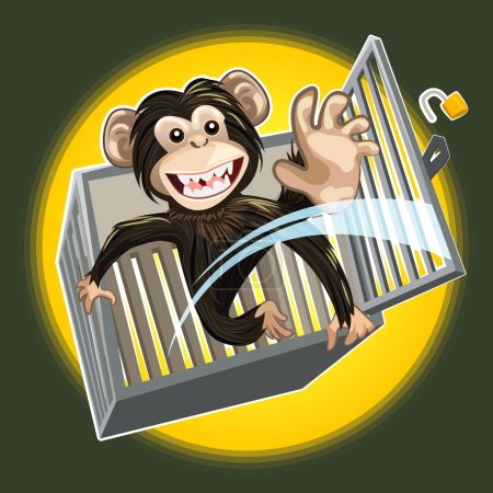 Baby Chimpanzee Breaking A Cage