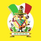 Illustration Of Mexican Man Mariachi Salute To Mexico National Flag With Background Of Mexican Iconic Culture