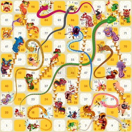 Snake and Ladder Board Game Chinese New Year Vector