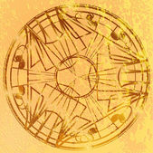 Grunge round ornament on a yellow background