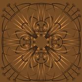 Grunge round ornament on a brown background