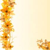 Illustration of yellow flowers with butterflies background vector clip-art