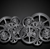 Steel gears on a black background vector illustration clip-art