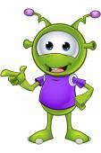 A cartoon illustration of a cute little green alien character