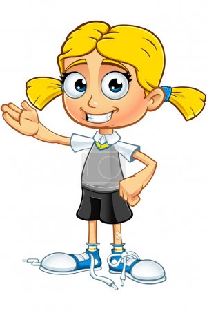 Illustration for A illustration of a cartoon school girl character with blonde hair. - Royalty Free Image