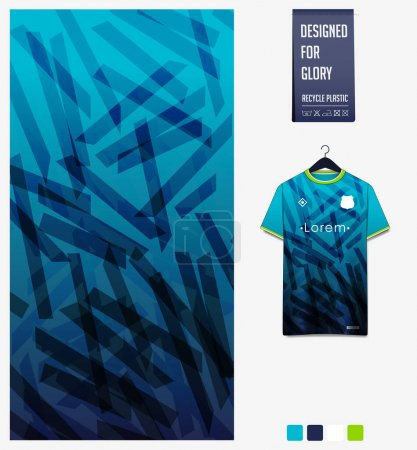 Illustration for Soccer jersey pattern design. Geometric pattern on blue abstract background for soccer kit, football kit, bicycle, e-sport, basketball, t-shirt mockup template. Fabric pattern. Sport background. Vector Illustration. - Royalty Free Image