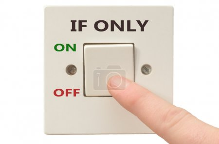 Photo pour Turning off If only with finger on electrical switch - image libre de droit