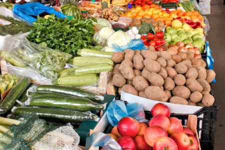 Fresh organic fruits and vegetables on farmers market