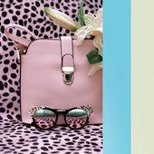 """Постер, картина, фотообои """"Сумки и стильные очки мода на леопарда печати backgro"""""""