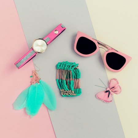 Ladies Fashion Accessories. Pink Clutch, sunglasses, watches, je