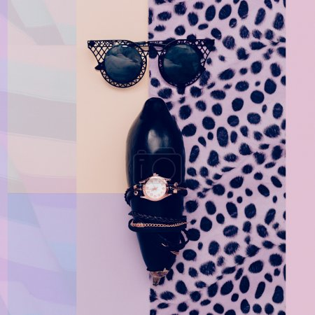 Fashion accessories sunglasses and watches. Black style.