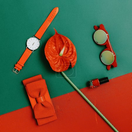 Fashion accessories set. Focus on red. Be passion lady.