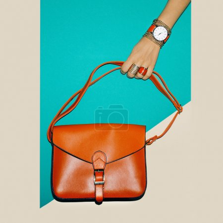 Photo for Stylish Accessories. Focus on red. Bag Ladies and jewelry. - Royalty Free Image