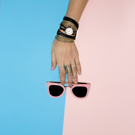 Stylish Lady Accessories. Watches and sunglasses. glamorous Summ