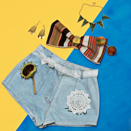 jeans shorts summer fashion accessories. Country Style.