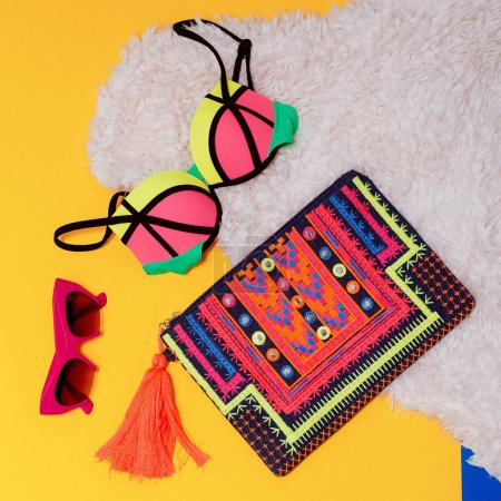 Beach Set. Come back summer. Fashion Swimsuit and Clutch.