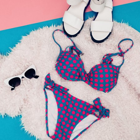 Beach Fashion. Retro Swimsuit Polka Dots Be Cute