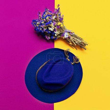 Stylish accessory autumn. Felt Hat Lady. Purple trending