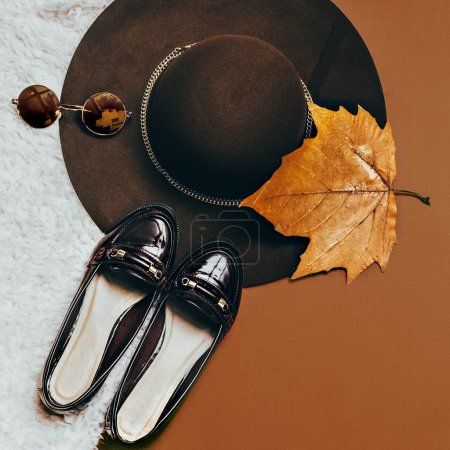 Be stylish in autumn. Shoes. Fashion accessories. Hat and sungla