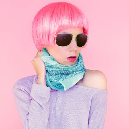 Fashionable woman in sunglasses bright colors style