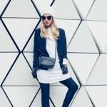 Glamorous blonde on the street. urban fashion...