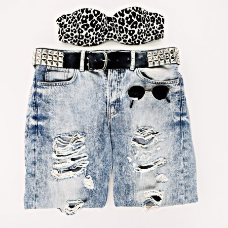 Fashion design photos. Metal grunge style. Vintage blue jeans