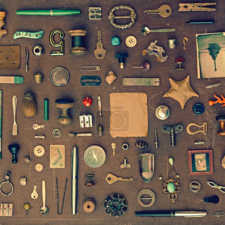 Photo for Vintage set of old things and trinkets - Royalty Free Image
