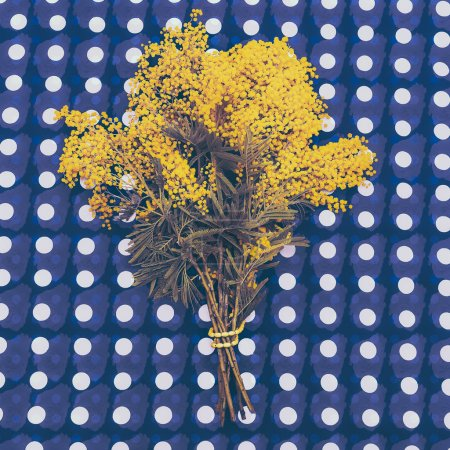 Bouquet of yellow mimosa on abstract background. Vintage style
