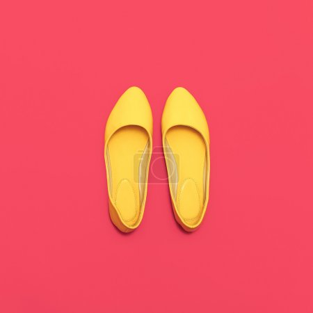 Glamorous Ladies' shoes on pink background