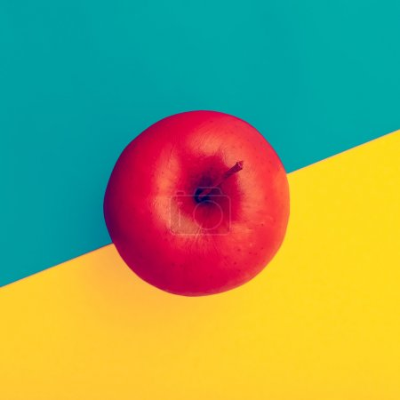 Photo for Fake Apple in red paint. minimal style - Royalty Free Image