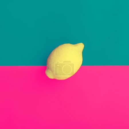 Minimal design fruit. Lemon on bright background