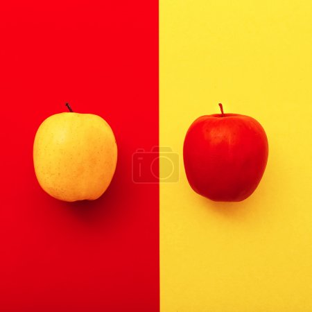 Photo for Two apples on bright backgrounds.  geometry  minimal style - Royalty Free Image
