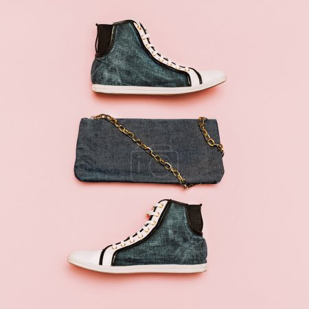 Fashionable shoes and clutch. Denim print