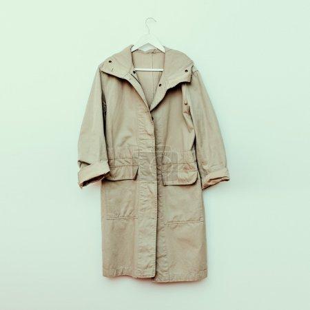 Stylish jacket on hanger. military style