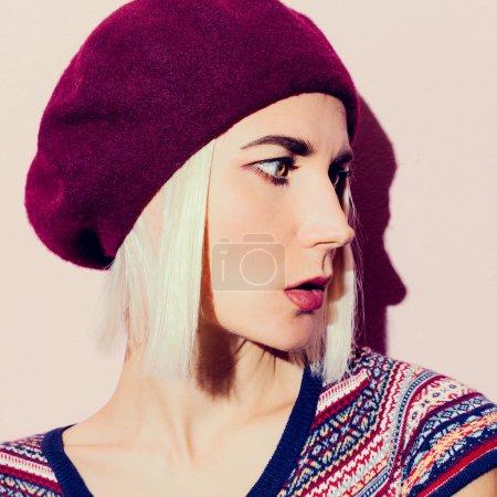 Sensual blond in  stylish beret