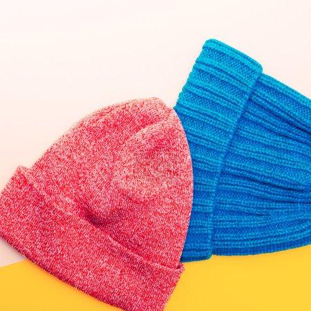 Stylish Hipster Caps. Bright design Set