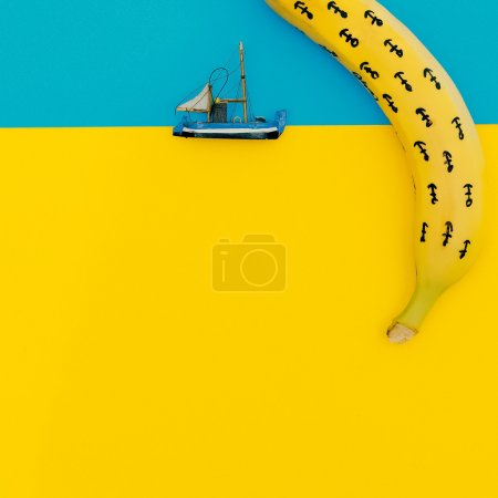 Photo for Small Ship in the ocean. Minimal style. - Royalty Free Image