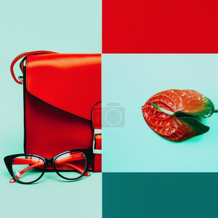 Photo for Fashion collage. Stylish accessories. Bag and eyeglasses. Focus on red shades - Royalty Free Image