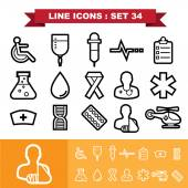 Healthcare Line icons set 34Illustration eps 10