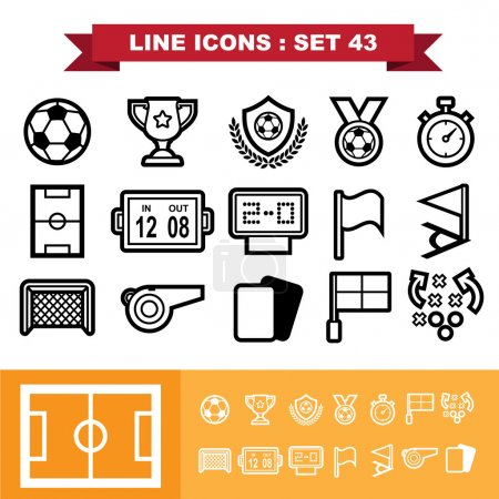 Soccer football  Line icons set 43