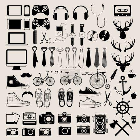 Illustration pour Eléments d'infographie de style Hipster et icônes réglées pour un design rétro. Illustration eps10 - image libre de droit