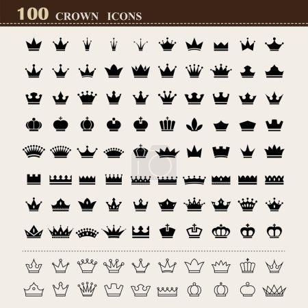 Illustration pour Couronnes royales de base, ensemble d'icônes  . - image libre de droit