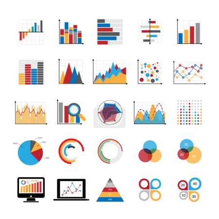 Illustration for Graphic charts diagrams and business graphs icons set. Illustration eps 10 Vector - Royalty Free Image